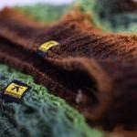 komplet ażurowy w zieleniach i brązach