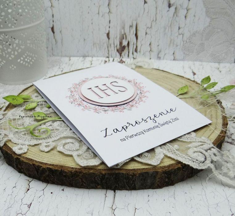 Zaproszenie na Komunię z grafiką, ZKG 2 - zaproszenie dla dziewczynki
