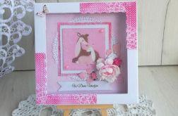 Kartka urodzinowa z jelonkiem różowa GOTOWA