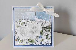Kartka na ślub ślubna niebieska para młoda