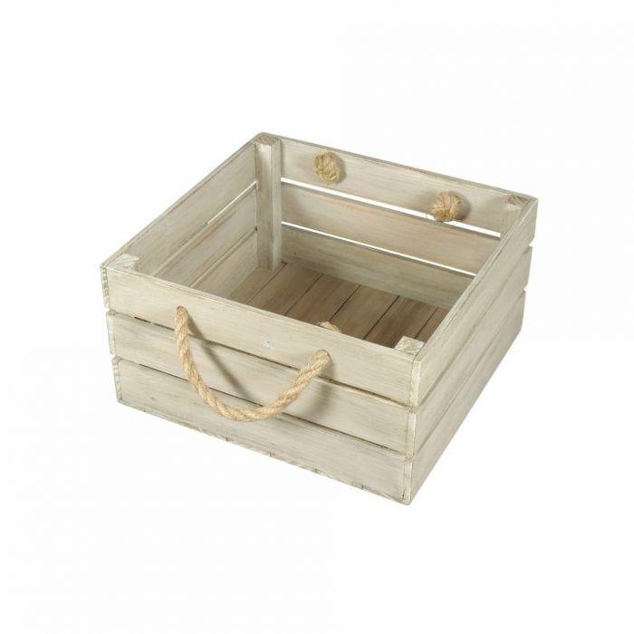 Skrzynka drewniana biało brązowa 30x31x16,5 - Skrzyneczka biało brązowa