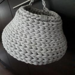 """Koszyk """"mała gruszka"""" ze sznurka bawełnianego"""