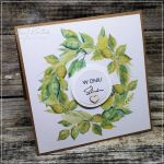 Ślubna kartka z zielonym wieńcem - ślubna kartka z wieńcem
