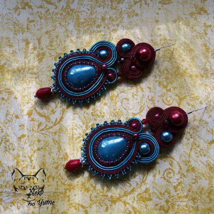 Lillandrum- kolczyki sutasz burgund i turkus