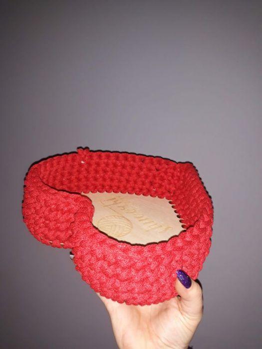 Koszyk ze sznurka Serce - Na brzozowej sklejce