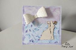 Kartka na ślub fioletowa z kokardą