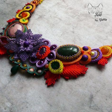 Aura - naszyjnik sutasz i haft koralikowy