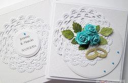 Kartka ŚLUBNA biało-turkusowa