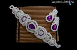 Śliwkowy komplet ślubny, biżuteria ślubna sutasz