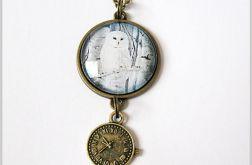 Naszyjnik - Biała sowa - zegarek - antyczny brąz