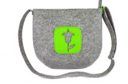 Gray felt & green flower