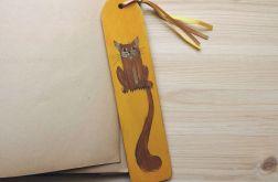 Zakładki drewniane, malowane - Koty w ochrze