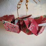 Kolczyki origami ptaszki czerwone - Z boku i od tyłu