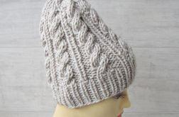 Gruba czapka zimowa Unisex Wzór warkocze.
