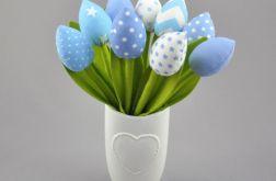 Tulipany, kwiaty z materiału niebieskie