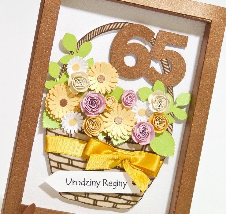 """Kartka obrazek na 65 urodziny """"Kosz kwiatów"""" -"""