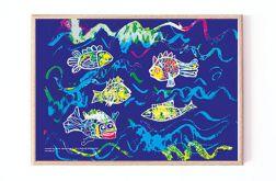 oprawiony obrazek z rybkami dla dzieci 21x30