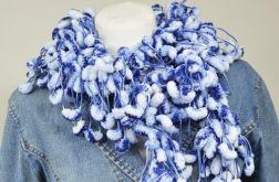 pom-pon scarf  - niebiesko-biały