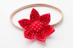 Opaska do włosów kwiatek czerwony w kropeczki