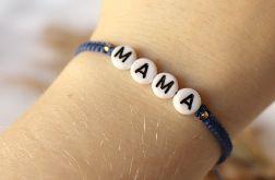 Niebieska bransoletka z napisem mama