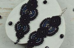 Czarne kolczyki wiszące z koralików