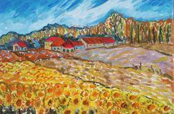 obraz olejny pejzaż ze słonecznikami