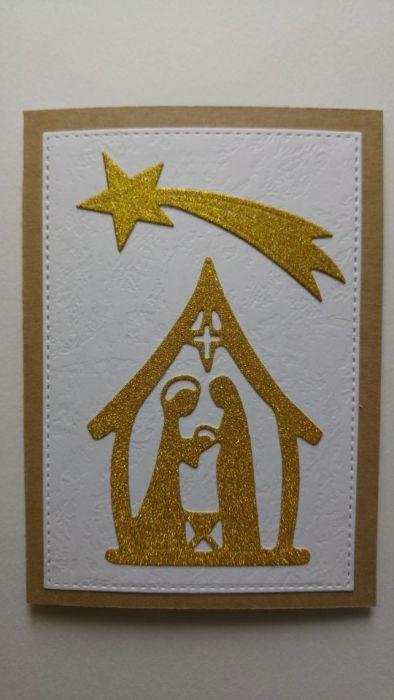 Kartka ze złotą brokatową stajenką i gwiazdą
