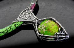 Naszyjnik srebrny jaspis zielony