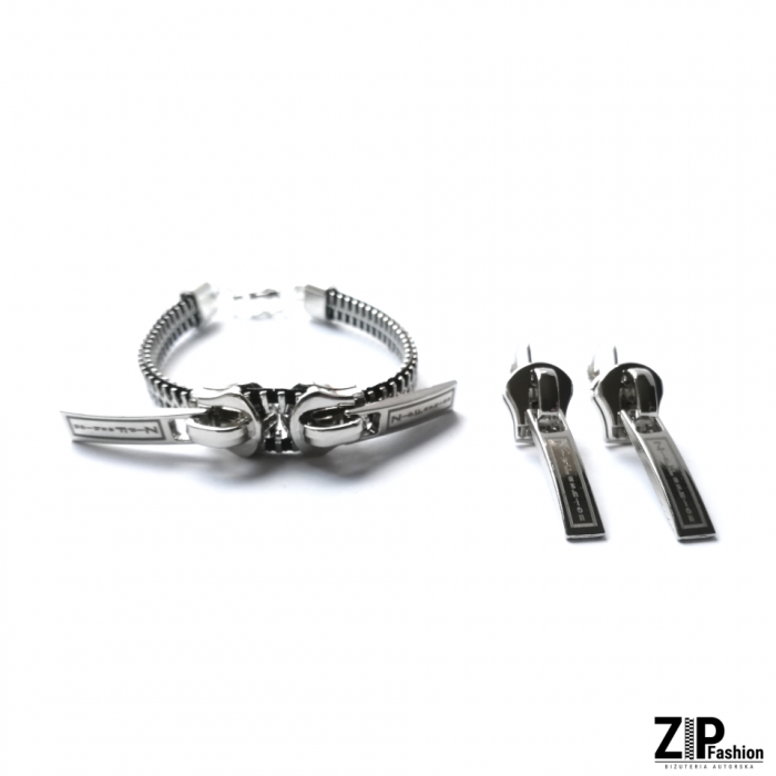 Designerski zestaw kolczyki i bransoletka