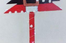 Drewniana choinka Pas Mikołaja ze śniegiem