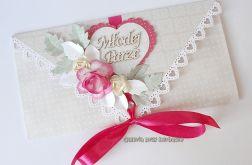 Kopertówka, kartka na ślub różowa 11091