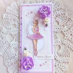 Kartka DL urodzinowa z baletnicą GOTOWA -