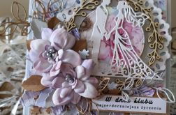 Kartka ślubna kwiaty z foamiranu