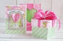 Zestaw ślubny: pudełko, kartka i koperta