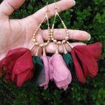 Szyfonowe wesele kolczyki szmaragdowe różowe