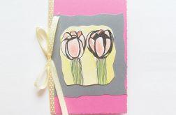 Kartka z kokardką i z kwiatkami nr 2