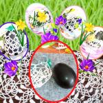 Wielkanocna koszulka na jajko frywolitka - pisanki, pisanka, frywolitka, ozdoby wielkanocne, koronki, wielkanoc, tatting, frivolite,