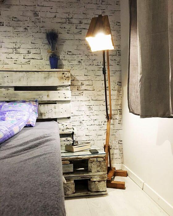Drewniana Lampa Podłogowa Rustykalna INNA