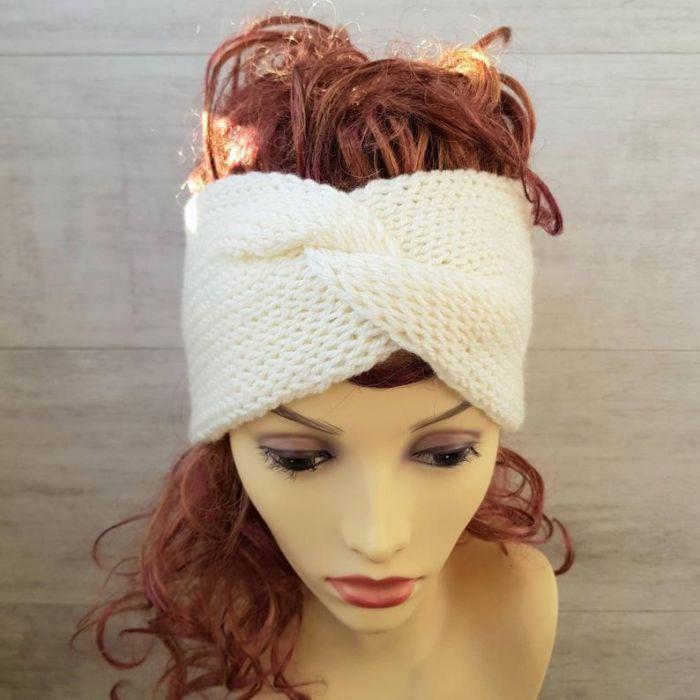 Opaska zimowa turban śnieżna biel - zimowe dodatki