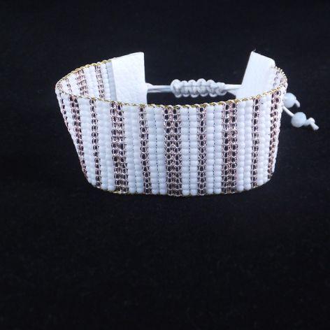 Elegancka biała bransoletka z krosna