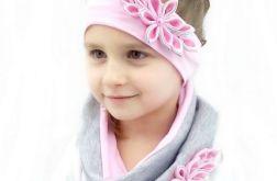 Opaska i komin dla dziewczynki różowe