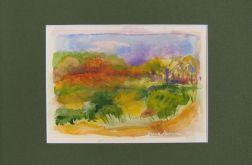 Pejzaż-akwarela obraz malowany ręcznie