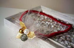 Opaska na święta złota szara tiulowa