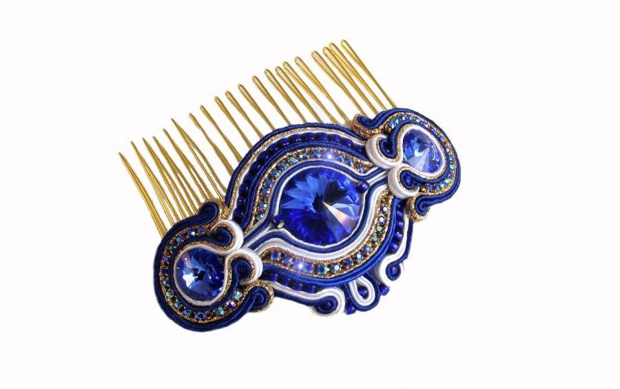 Grzebień do włosów chaber ze złotem