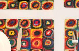 zestaw 4 podkładek korkowych, Kwadraty i koła Kandinsky'ego