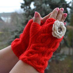 Czerwone rękawiczki mitenki  - krótkie