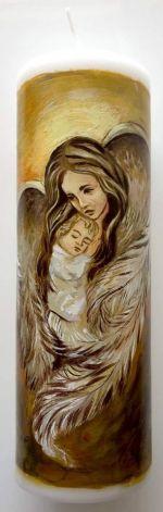 świeca malowana ręcznie-chrzest Anioł Stróż