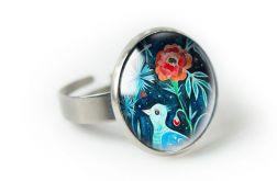 PTASZEK pierścionek regulowany z ilustracją