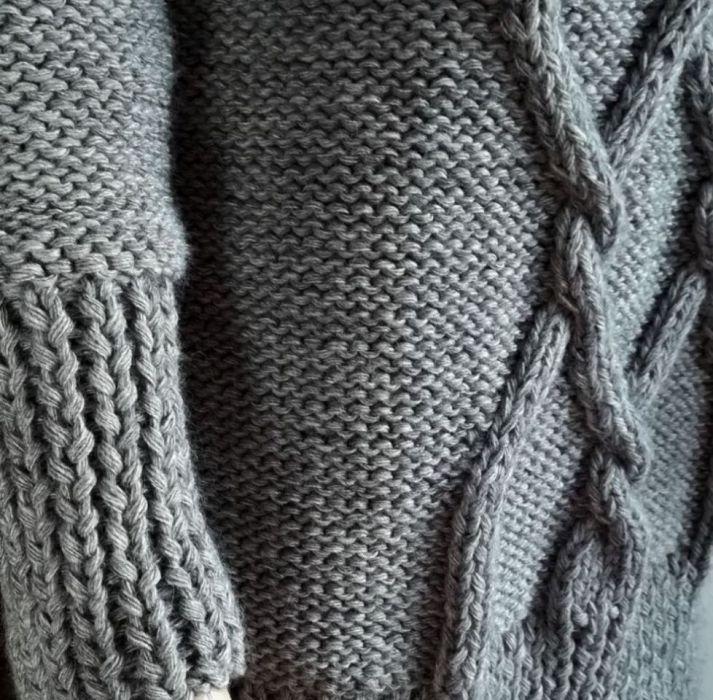 Długi szary sweter - szary sweter rękaw