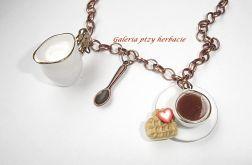 Czas na kawę naszyjnik z porcelaną i fimo